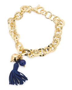 Made In Italy 18k Gold Plated Bronze Link Lapis Bracelet