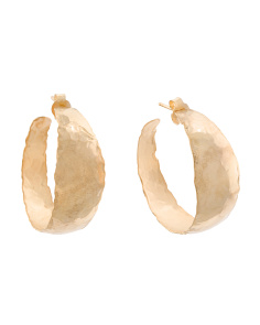 Made In Italy 18k Plated Bronze Organic Shape Hoop Earrings