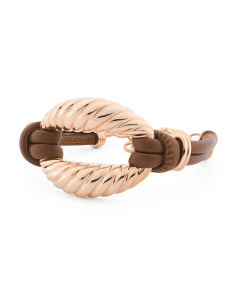 Made In Italy Rose Gold Plate Bronze Leather Link Bracelet