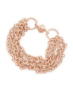 Made In Italy Rose Gold Plated Bronze Multi Strand Bracelet