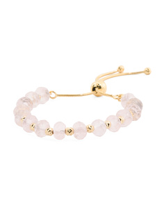 Made In Italy Plated Bronze Rose Quartz Friendship Bracelet