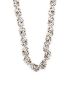 Made In Italy Rhodium Plated Bronze Link Necklace
