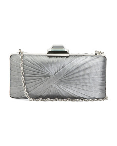 Twist Pleat Satin Evening Clutch