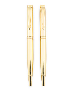 Set Of 2 Gold Boxed Pen Set