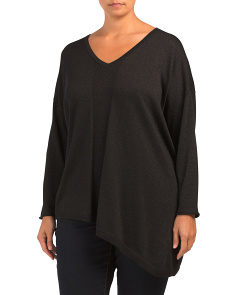 Plus Shimmer Asymmetrical Sweater