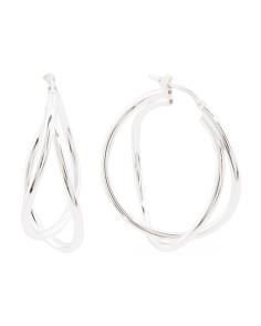 Made In Italy Sterling Silver Double Wavy Hoop Earrings
