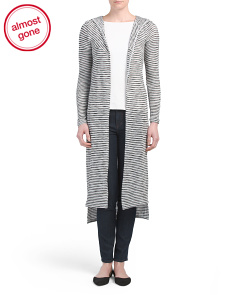 Long Open Front Hooded Cardigan