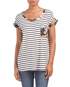 Striped Top With Floral Trim