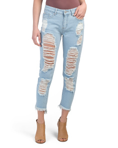 Juniors Destructed Hi Lo Ankle Jeans
