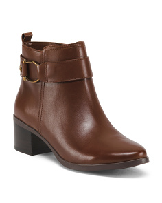 Buckle Wrap Ankle Leather Booties
