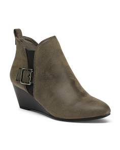 Buckle Wedge Booties