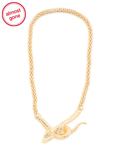 Made In Italy Gold Plated Bronze Snake Necklace