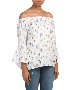 Made In Italy Floral Eyelet Top
