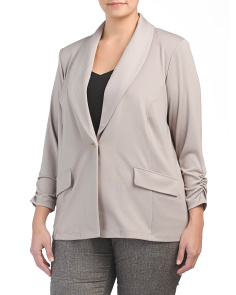 Plus Stretch Ruched Sleeve Jacket