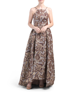 Halter Brocade Long Gown