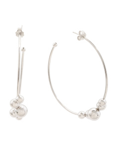 Made In Italy Sterling Silver Graduated Ball Hoop Earrings