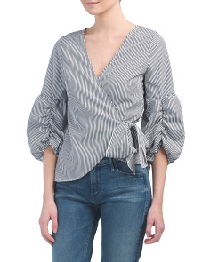 Juniors Striped Bubble Sleeve Wrap Top