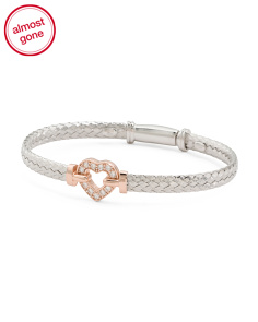 Made In Italy Sterling Silver Two Tone Pave Heart Bracelet