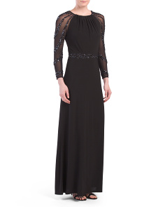 Beaded Trim Illusion Sleeve Gown