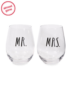 2pk Mr And Mrs Stemless Glasses