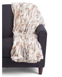 Basket Weave Faux Fur Throw