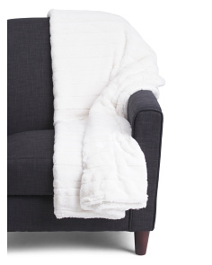 Stripe Faux Fur Throw