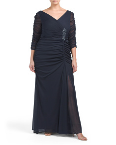 Plus Drape Covered Gown