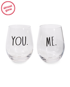 2pk You And Me Stemless Glasses
