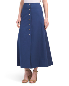 Twill Skirt With Snap Front Closure