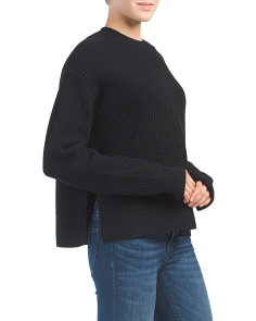 Textured Wool Blend Pullover Sweater