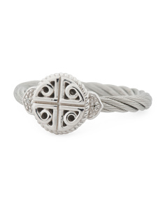 Stainless Steel And Diamond Key And Lock Celtic Cable Ring