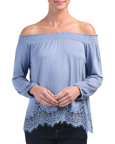 Off The Shoulder Top With Smocking