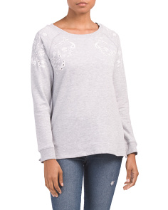 Eyelet Detail French Terry Sweatshirt