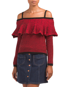 Juniors Debeney Ruffle Yoke Sweater