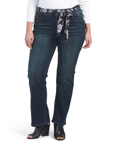 Plus Belted Curvy Bootcut Jeans