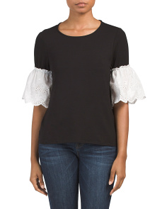 Made In Usa Eyelet Ruffle Sleeve Top