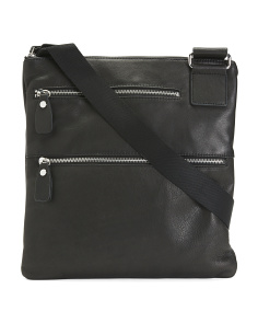 Leather Crossbody With Double Zip Pockets