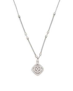 Steel Cable Diamond Square And Circle Necklace