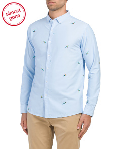 Long Sleeve Parrot Embroidered Shirt