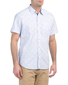 Short Sleeve Dot Dobby Print Shirt