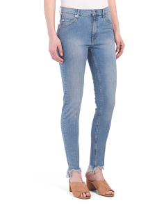Juniors High Waist Cut Off Skinny Jeans