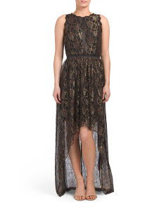Metallic Lace Long Dress