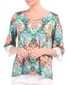 Flared Elbow Sleeve Printed Top
