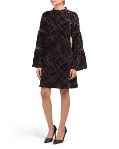 Plaid Crushed Velvet A Line Dress