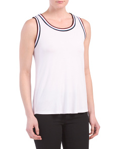 Contrast Rib Trim Scoop Neck Tank