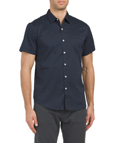 Stretch Solid Woven Shirt