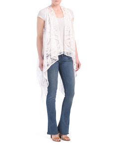 Lace Vest With Extra Long Fringe