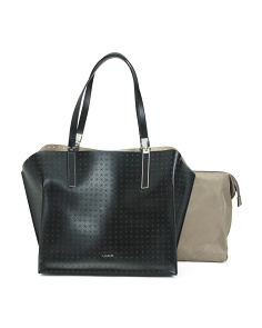 Leather Perforated Anita Satchel