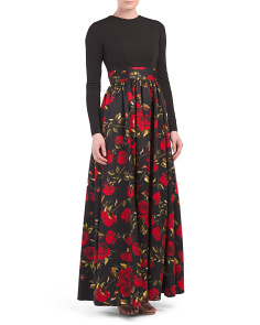Long Sleeve Rose Printed Gown