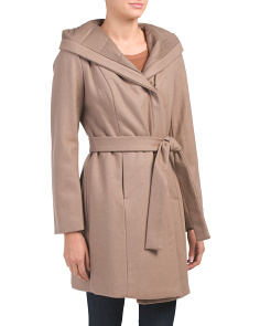 Wool Kourtney Hooded Wrap Coat